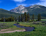 Summer scenic, Colorado River, Grand Ditch, Kawuneeche Valley, Rocky Mountain National Park, Colorado, USA