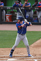 South Bend Cubs third baseman Ryan Reynolds (41) at bat during a game against the Wisconsin Timber Rattlers on July 21, 2021 at Neuroscience Group Field at Fox Cities Stadium in Grand Chute, Wisconsin.  (Brad Krause/Four Seam Images)