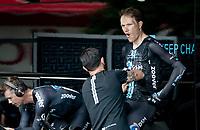 Nikias Arndt (DEU/DSM) getting suited an ice vest during warm-up<br /> <br /> 104th Giro d'Italia 2021 (2.UWT)<br /> Stage 21 (final ITT) from Senago to Milan (30.3km)<br /> <br /> ©kramon
