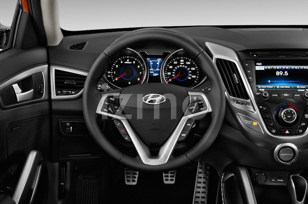 Car pictures of steering wheel view of a 2016 Hyundai Veloster 1.6-Manual 4 Door Hatchback Steering Wheel