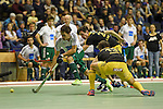 Berlin, Germany, January 31: Benedikt Fuerk #12 of HTC Uhlenhorst Muehlheim in action during the 1. Bundesliga Herren Hallensaison 2014/15 semi-final hockey match between Harvestehuder HTC(black/yellow) and HTC Uhlenhorst Muehlheim (white/green) on January 31, 2015 at the Final Four tournament at Max-Schmeling-Halle in Berlin, Germany. Final score 6-3 (2-2). (Photo by Dirk Markgraf / www.265-images.com) *** Local caption ***