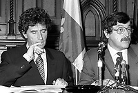 Montreal (Qc) CANADA - June 8 1984 - Jack Lang, Minister of Culture, France (L) in a press conference with Clement Richard,Minister of Cultural Affaires , Quebec