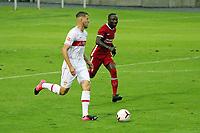22nd August 2020; Saalfelden, Austria; Pres-season football friendly, Liverpool versus Stuttgart;   Waldemar Anton VfB Stuttgart breaks away from Naby Keita FC Liverpool