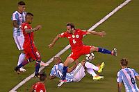 Action photo during the match Argentina vs Chile corresponding to the Final of America Cup Centenary 2016, at MetLife Stadium.<br /> <br /> Foto durante al partido Argentina vs Chile cprresponidente a la Final de la Copa America Centenario USA 2016 en el Estadio MetLife , en la foto:(i-d) Javier Mascherano de Argentina y Jose Fuenzalida de Chile<br /> <br /> <br /> 26/06/2016/MEXSPORT/JAVIER RAMIREZ