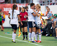 Abby Wambach, Lindsey Horan.  The USWNT defeated Brazil, 4-1, at an international friendly at the Florida Citrus Bowl in Orlando, FL.