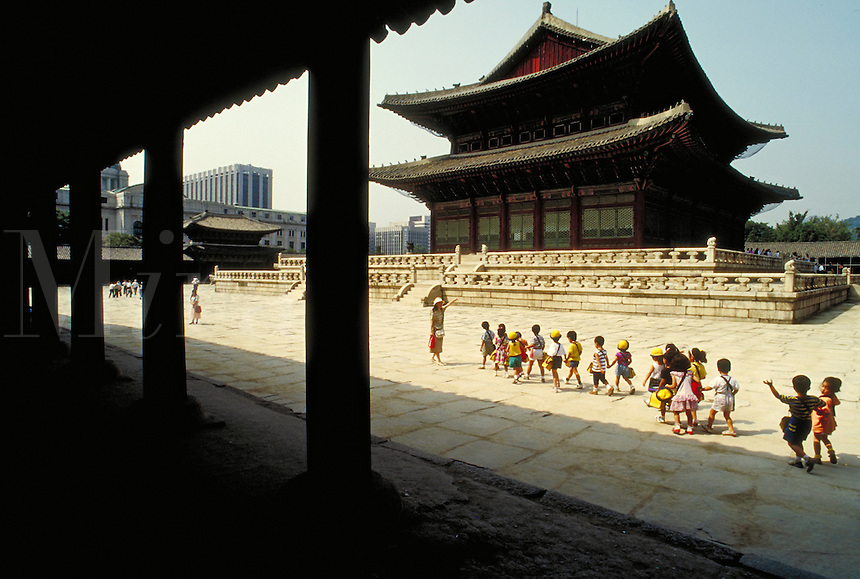 School kids on a field trip to historic palace. Seoul, South Korea Palace.