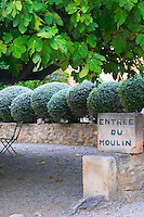 The entrance to the olive mill with a carved stone sign under a fig tree. Moulin Mas des Barres olive mill, Maussanes les Alpilles, Bouches du Rhone, Provence, France, Europe