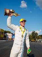Sep 17, 2017; Concord, NC, USA; NHRA pro stock driver Tanner Gray celebrates after winning the Carolina Nationals at zMax Dragway. Mandatory Credit: Mark J. Rebilas-USA TODAY Sports