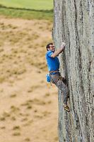 Nick Bullock on 'Strawberries' E7 6b, Craig Bwlch y Moch (Tremadog), North Wales, United Kingdom
