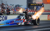 Sept. 2, 2011; Claremont, IN, USA: NHRA top fuel dragster driver Cory McClenathan during qualifying for the US Nationals at Lucas Oil Raceway. Mandatory Credit: Mark J. Rebilas-