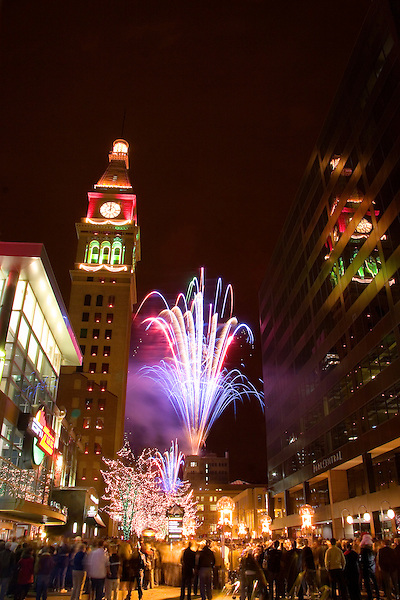 New Years Eve fireworks, 16th Street Mall, Denver, Colorado, USA John offers private photo tours of Denver, Boulder and Rocky Mountain National Park. .  John offers private photo tours in Denver, Boulder and throughout Colorado. Year-round.