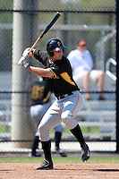 Pittsburgh Pirates catcher Jacob Stallings (16) during a minor league spring training game against the Philadelphia Phillies on March 18, 2014 at the Carpenter Complex in Clearwater, Florida.  (Mike Janes/Four Seam Images)