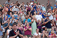 Boston Breakers fans applaud Heather O'Reilly who is leaving for the Olympic team in London.  In a Women's Premier Soccer League Elite (WPSL) match, the Boston Breakers defeated ASA Chesapeake Charge, 3-1, at Dilboy Stadium on July 6, 2012.