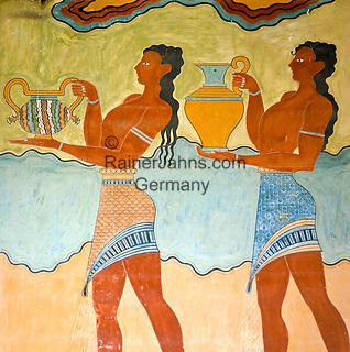 Greece, Crete, Knossos: Minoan Fresco at Knossos Palace | Griechenland, Kreta, Knossos: Minoische Fresken im Palast von Knossos