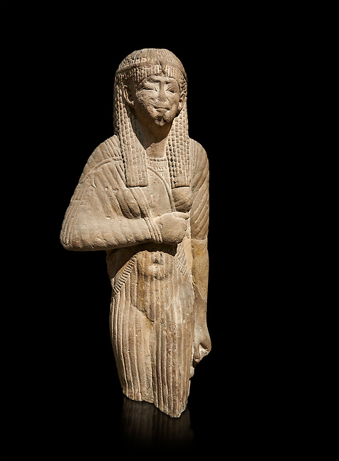 Ancient Egyptian statue of a queen wearing a clinging dress, sandstone, Ptolemaic Period (332-30BC). Egyptian Museum, Turin. black background<br /> <br /> Drovetti Collection, Cat 1386