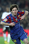 Football Season 2009-2010. Barcelona's player Lionel Messi celebrating his goal during their spanish liga soccer match between Barcelona vs Valencia at Camp Nou  stadium in Barcelona. 14 March 2010.