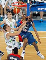 "Nicolas Batum of France (R) in action during European basketball championship ""Eurobasket 2013"" quarter-final basketball game between Slovenia and France in Stozice Arena in Ljubljana, Slovenia, on September 18. 2013. (credit: Pedja Milosavljevic  / thepedja@gmail.com / +381641260959)"