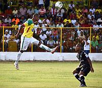 MAGANGUE-COLOMBIA, 23-02-2020: Real Cartagena y Valledupar F. C., durante partido por la fecha 4 del Torneo BetPlay DIMAYOR I 2020 en el estadio Diego Carvajal de la ciudad de Magangue. / Real Cartagena and Valledupar F. C.,  during a match for the 4th date of the BetPlay DIMAYOR I 2020 tournament at the Diego Carvajal stadium in Magangue city. / Photos: VizzorImage / Juan Diaz / Cont.