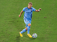 WASHINGTON, DC - SEPTEMBER 06: Anton Tinnerholm #3 of New York City FC dribbles during a game between New York City FC and D.C. United at Audi Field on September 06, 2020 in Washington, DC.