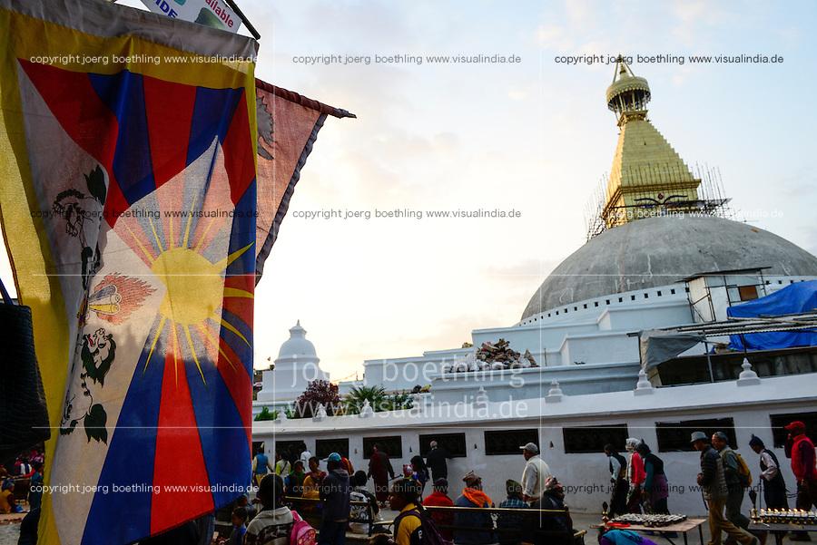 NEPAL Kathmandu, Boudhanath Stupa is the largest stupa in Nepal and the holiest Tibetan Buddhist temple outside Tibet. It is the center of Tibetan culture in Nepal, left tibetan flag /  Bodnath Stupa ist die groesste Stupa in Nepal und Zentrum der tibetischen Kultur in Nepal, links tibetische Flagge