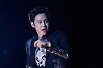 JYJ, Aug 09, 2014 : South Korean boy band JYJ's Yuchun performs during the group's concert, 'THE RETURN OF THE KING' at Jamsil stadium in Seoul, South Korea.  (Photo by Lee Jae-Won/AFLO) (SOUTH KOREA)
