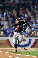 Cleveland Indians Francisco Lindor (12) runs to first base in the seventh inning during Game 4 of the Major League Baseball World Series against the Chicago Cubs on October 29, 2016 at Wrigley Field in Chicago, Illinois.  (Mike Janes/Four Seam Images)