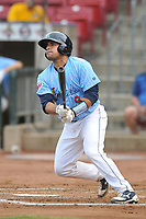 Cedar Rapids Kernels catcher David Banuelos (9) swings at pitch against the South Bend Cubs at Veterans Memorial Stadium on May 1, 2018 in Cedar Rapids, Iowa.  (Dennis Hubbard/Four Seam Images)