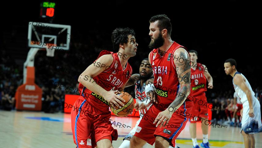 SERBIA - USA BASKETBALL WORLD CUP SPAIN MADRID final, finale Srbija - SAD<br /> sunday September 14. 2014. Milos Teodosic  Miroslav Raduljica
