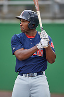 Salem Red Sox first baseman Josh Ockimey (30) on deck during the first game of a doubleheader against the Potomac Nationals on May 13, 2017 at G. Richard Pfitzner Stadium in Woodbridge, Virginia.  Potomac defeated Salem 6-0.  (Mike Janes/Four Seam Images)