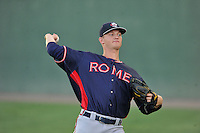 Starting pitcher Mike Soroka (54) of the Rome Braves warms up before a game against the Greenville Drive on Wednesday, August 31, 2016, at Fluor Field at the West End in Greenville, South Carolina. Rome won, 9-1. (Tom Priddy/Four Seam Images)