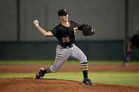 Bristol Pirates relief pitcher Vince Deyzel (55) delivers a pitch during the second game of a doubleheader against the Bluefield Blue Jays on July 25, 2018 at Bowen Field in Bluefield, Virginia.  Bristol defeated Bluefield 5-2.  (Mike Janes/Four Seam Images)