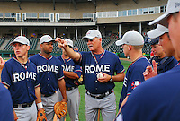 May 15, 2009: Manager Randy Ingle (12) of the Rome Braves, Class A affiliate of the Atlanta Braves, talks about the ground rules with his position players before a game against the Greenville Drive at Fluor Field at the West End in Greenville, S.C. Photo by: Tom Priddy/Four Seam Images