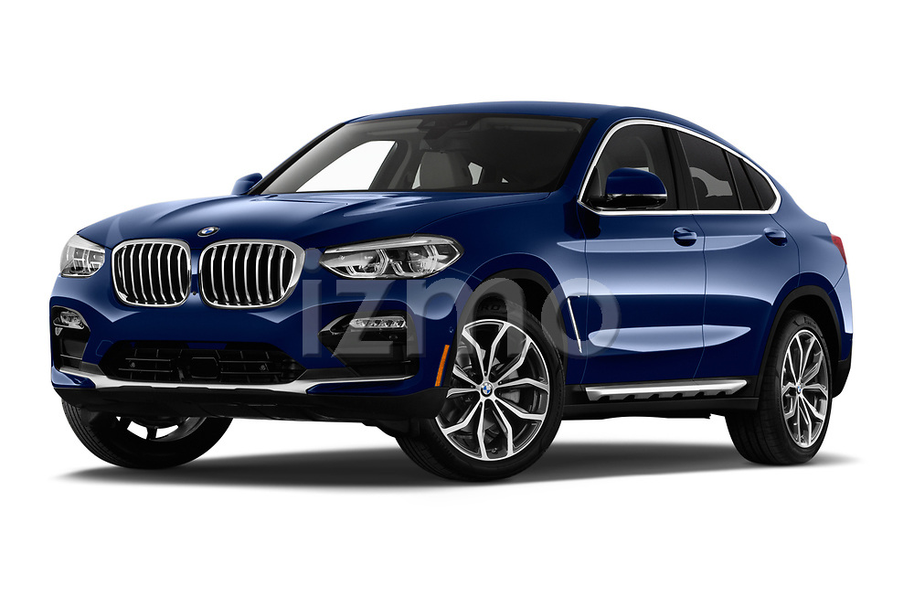 Stock pictures of low aggressive front three quarter view of a 2020 BMW X4 xDrive30i 5 Door SUV