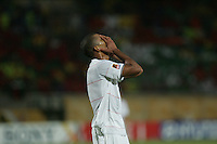 The United States' Tony Taylor reacts after missing a drive to goal against Cameroon during the FIFA Under 20 World Cup Group C Match between the United States and Cameroon at the Mubarak Stadium on September 29, 2009 in Suez, Egypt.
