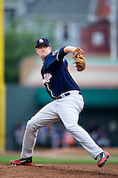 New Hampshire Fisher Cats starting pitcher Deck McGuire #13 during an Eastern League game against the Erie Seawolves at Jerry Uht Park on August 9, 2012 in Erie, Pennsylvania.  Erie defeated New Hampshire 6-0.  (Mike Janes/Four Seam Images)