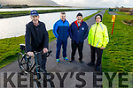 George Poff with his bike standing with  Mono Ryle, Paul Byrne and James O'Connor launching the Jimmy Duffy Memorial cycle in Blennerville on Mon.