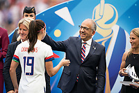 LYON, FRANCE - JULY 07: Alex Morgan, Carlos Cordiero and Kristine Lilly during a game between Netherlands and USWNT at Stade de Lyon on July 07, 2019 in Lyon, France.
