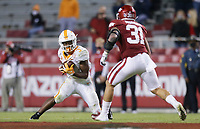 Tennessee running back Eric Gray (3) carries the ball, Saturday, November 7, 2020 during a football game at Donald W. Reynolds Razorback Stadium in Fayetteville. Check out nwaonline.com/201108Daily/ for today's photo gallery. <br /> (NWA Democrat-Gazette/Charlie Kaijo)