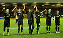 A HAPPY HIBERNIAN MANAGER COLIN CALDERWOOD WITH HIS PLAYERS AT THE END OF THE GAME