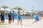 (R-L) Masayuki Komaki, Shusei Yamauchi, Masahito Toma,   Marcelo Mendes (JPN),<br /> APRIL 20, 2014 - Beach Soccer :<br /> Beach Soccer Japan national team candidates training camp in Okinawa, Japan. (Photo by Wataru Kohayakawa/AFLO)