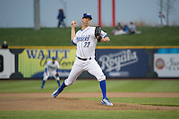 Clayton Mortensen (22) of the Omaha Storm Chasers delivers a pitch to the plate against the Memphis Redbirds in Pacific Coast League action at Werner Park on April 24, 2015 in Papillion, Nebraska.  (Stephen Smith/Four Seam Images)