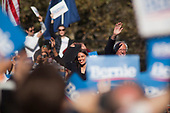 Queens, New York<br /> Queensbridge Park<br /> October 19, 2019<br /> <br /> Senator Bernie Sanders and Congresswoman New York Rep. Alexandria Ocasio-Cortez just after she endorses Sanders for US President during his first major campaign rally since suffering from a heart attack earlier this month in Queensbridge Park. <br /> <br /> An estimated 26,000 people attended the event according to the Sanders campaign.