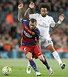 FC Barcelona's Dani Alves (l) and Real Madrid's Marcelo Vieira during La Liga match. April 2,2016. (ALTERPHOTOS/Acero)