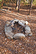 Fire pit along the Hancock Notch Trail in the White Mountains, New Hampshire USA.