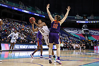 GREENSBORO, NC - MARCH 6: Taylor Soule #13 of Boston College is guarded by Hannah Hank #12 of Clemson University during a game between Clemson and Boston College at Greensboro Coliseum on March 6, 2020 in Greensboro, North Carolina.