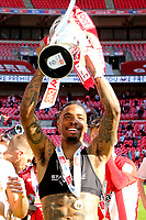 Ivan Toney holds the Championship Trophy aloft as Brentford celebrate promotion to the Premier League during Brentford vs Swansea City, Sky Bet EFL Championship Play-Off Final Football at Wembley Stadium on 29th May 2021