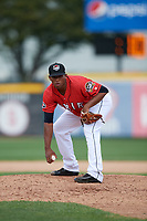 Erie SeaWolves relief pitcher Gerson Moreno (38) looks in for the sign looks in for the sign during a game against the Akron RubberDucks on August 27, 2017 at UPMC Park in Erie, Pennsylvania.  Akron defeated Erie 6-4.  (Mike Janes/Four Seam Images)