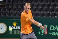 Switserland, Genève, September 16, 2015, Tennis,   Davis Cup, Switserland-Netherlands, Practise Dutch team, Thiemo de Bakker<br /> Photo: Tennisimages/Henk Koster