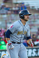 Burlington Bees catcher Harrison Wenson (9) runs to first base during a Midwest League game against the Wisconsin Timber Rattlers on April 26, 2019 at Fox Cities Stadium in Appleton, Wisconsin. Wisconsin defeated Burlington 2-0. (Brad Krause/Four Seam Images)
