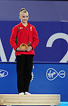 Wales' Georgina Hockenhull on the podium to collect her bronze medal for the women's gymnastics artistic balance beam final<br /> <br /> Photographer Chris Vaughan/Sportingwales<br /> <br /> 20th Commonwealth Games - Day 9 - Friday 1st August 2014 - Gymnastics - SECC - Glasgow - UK